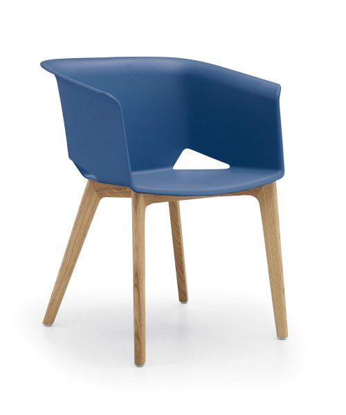 chaise réunion coque polypro bleu pieds bois
